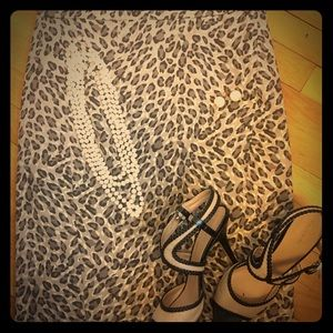 Leopard Print Loft Pencil Skirt